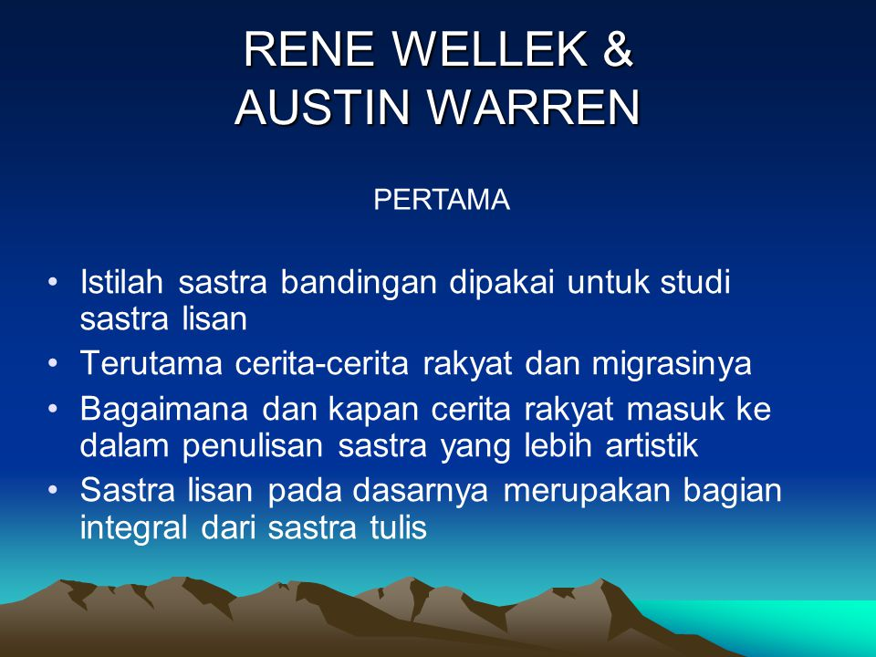 RENE WELLEK & AUSTIN WARREN