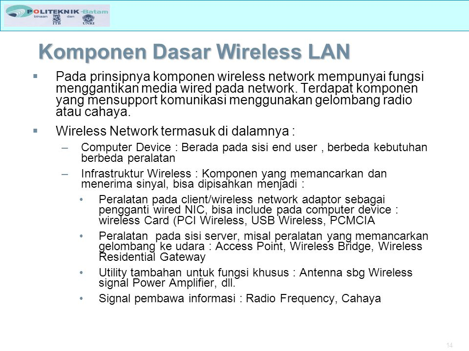 Komponen Dasar Wireless LAN
