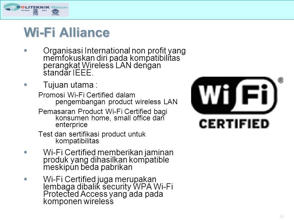 Wi-Fi Alliance Organisasi International non profit yang memfokuskan diri pada kompatibilitas perangkat Wireless LAN dengan standar IEEE.