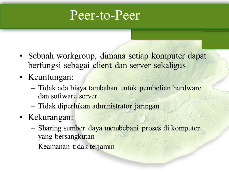 Peer-to-Peer Sebuah workgroup, dimana setiap komputer dapat berfungsi sebagai client dan server sekaligus.