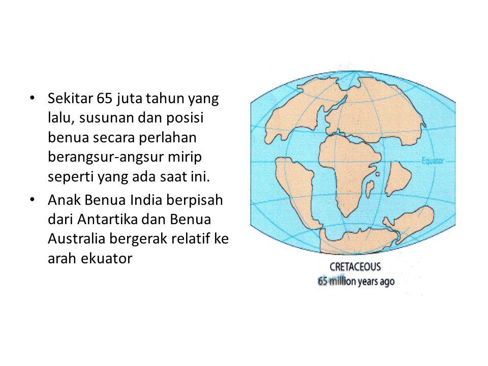 Sekitar 65 juta tahun yang lalu, susunan dan posisi benua secara perlahan berangsur-angsur mirip seperti yang ada saat ini.