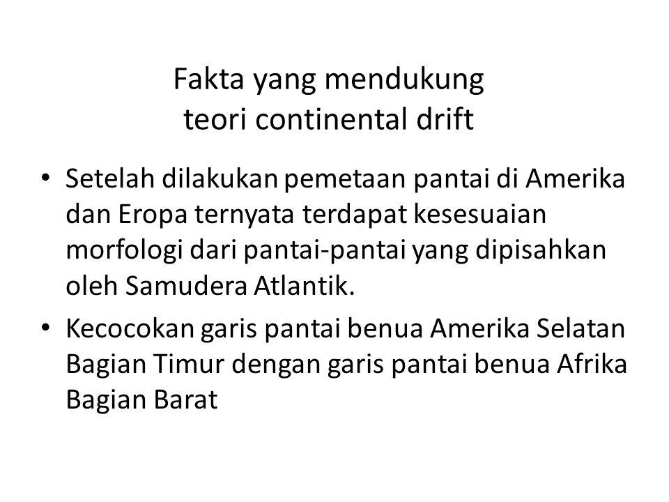 Fakta yang mendukung teori continental drift