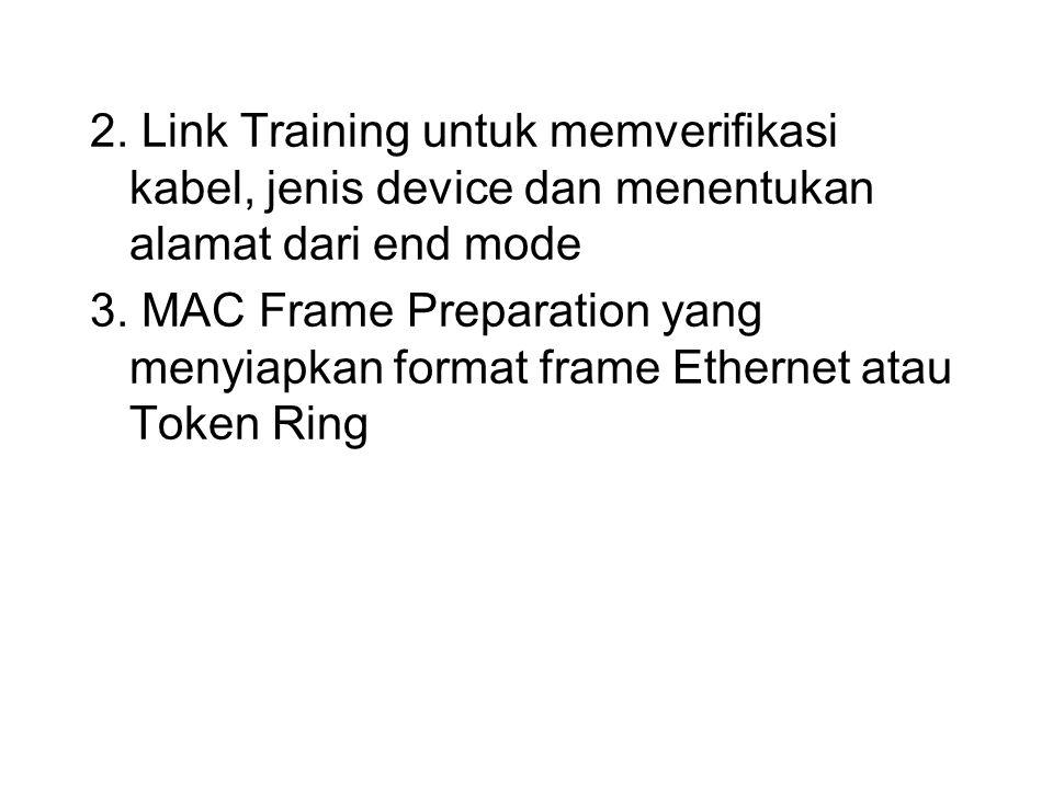 2. Link Training untuk memverifikasi kabel, jenis device dan menentukan alamat dari end mode