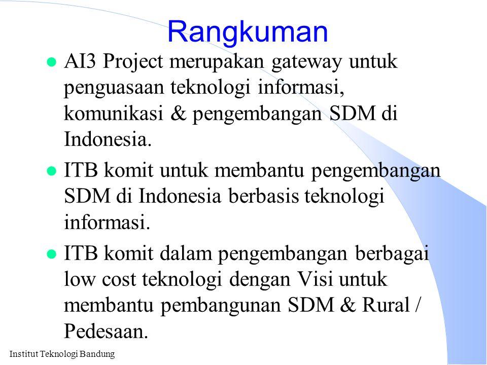 Rangkuman AI3 Project merupakan gateway untuk penguasaan teknologi informasi, komunikasi & pengembangan SDM di Indonesia.