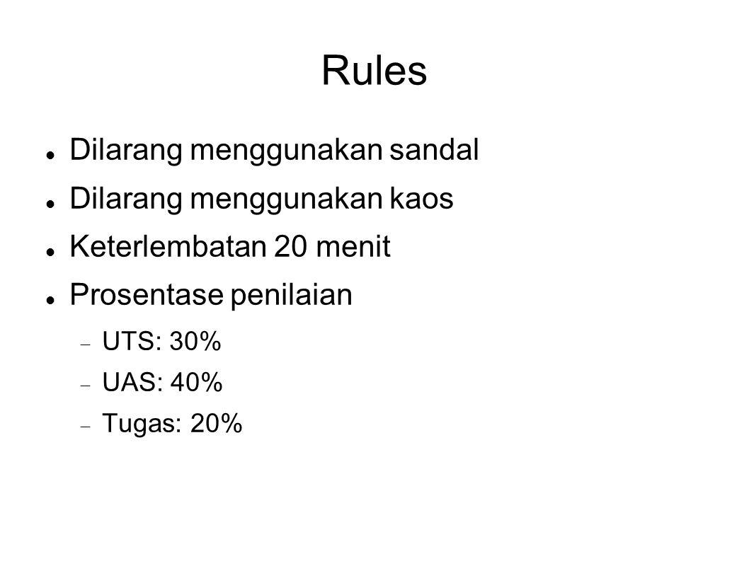 Rules Dilarang menggunakan sandal Dilarang menggunakan kaos