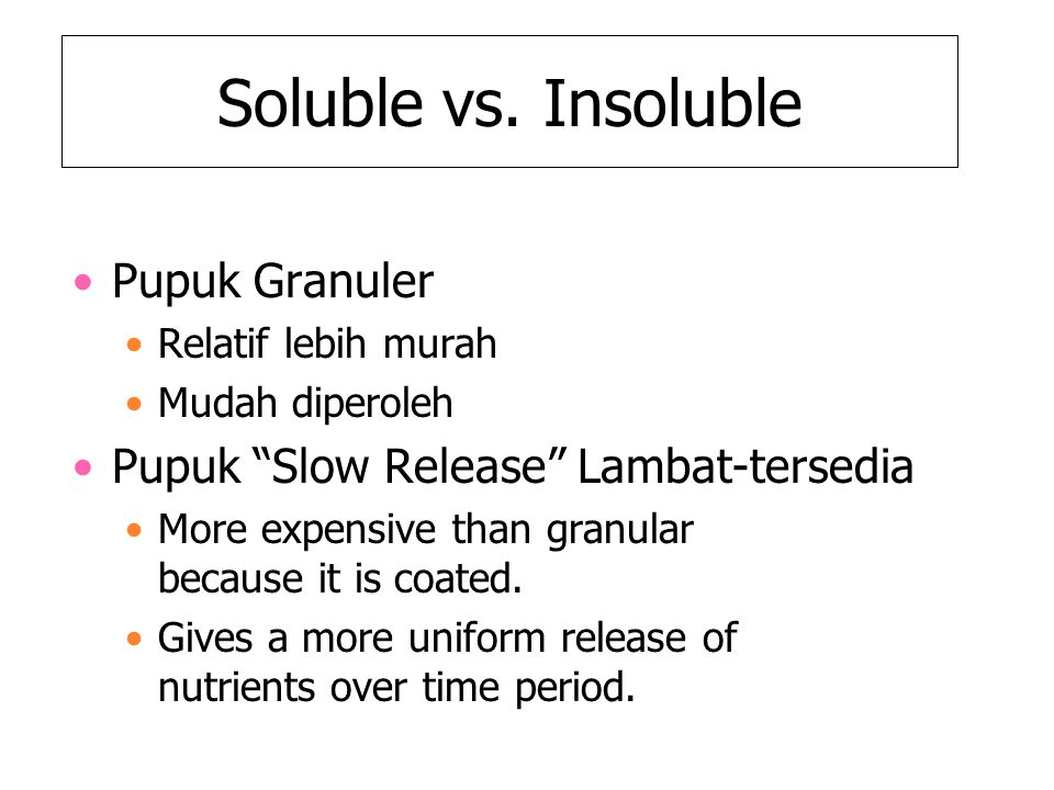 Soluble vs. Insoluble Pupuk Granuler