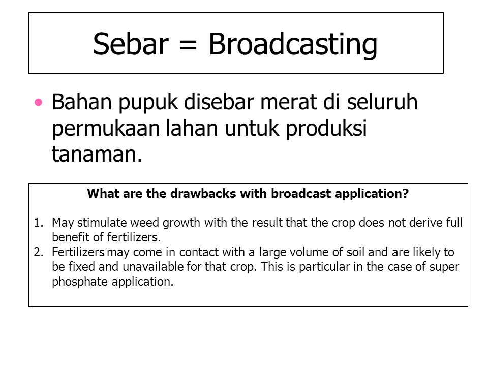 What are the drawbacks with broadcast application