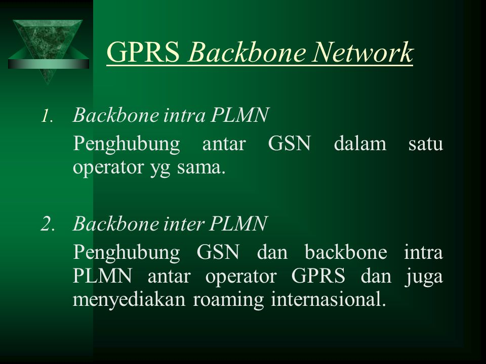 GPRS Backbone Network Backbone intra PLMN