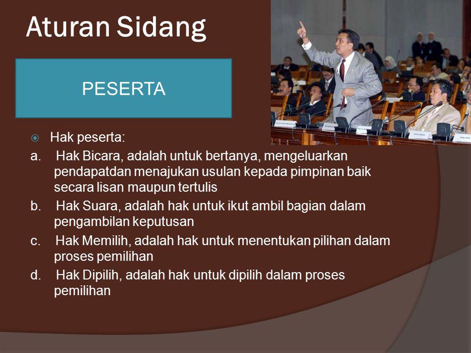 Aturan Sidang PESERTA Hak peserta: