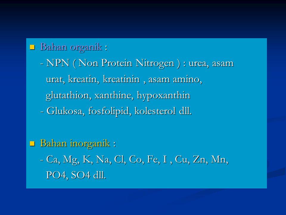 Bahan organik : - NPN ( Non Protein Nitrogen ) : urea, asam. urat, kreatin, kreatinin , asam amino,