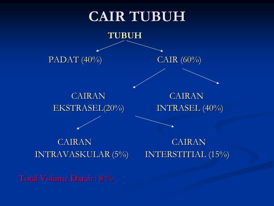 CAIR TUBUH TUBUH PADAT (40%) CAIR (60%) CAIRAN CAIRAN