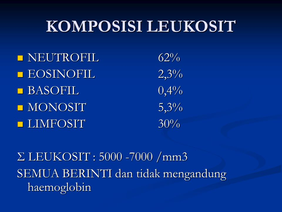 KOMPOSISI LEUKOSIT NEUTROFIL 62% EOSINOFIL 2,3% BASOFIL 0,4%