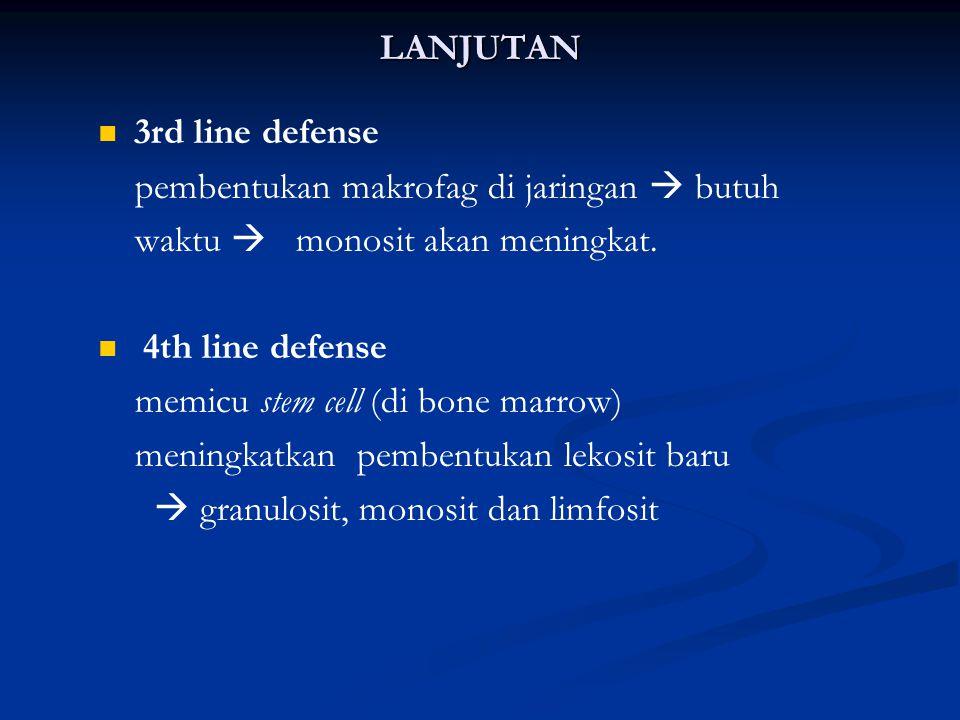 LANJUTAN 3rd line defense. pembentukan makrofag di jaringan  butuh. waktu  monosit akan meningkat.