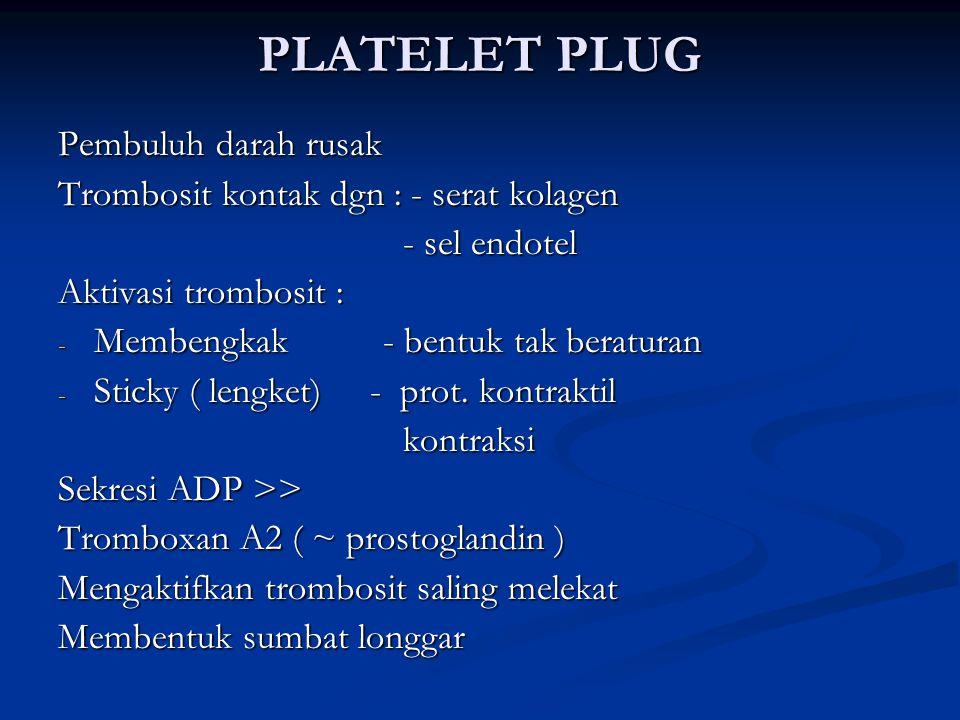 PLATELET PLUG Pembuluh darah rusak