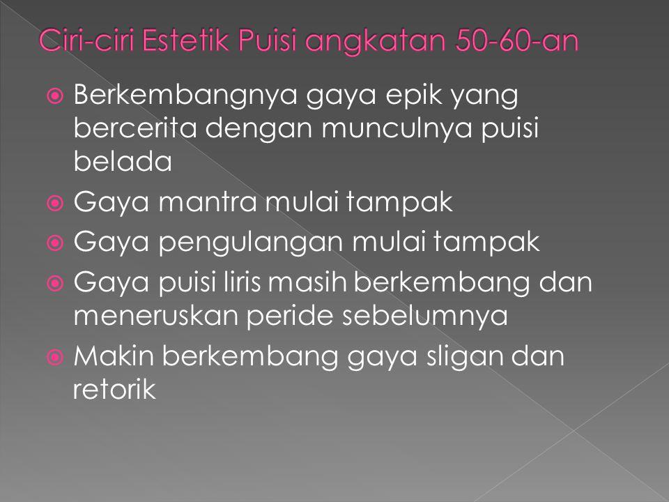 Ciri-ciri Estetik Puisi angkatan 50-60-an