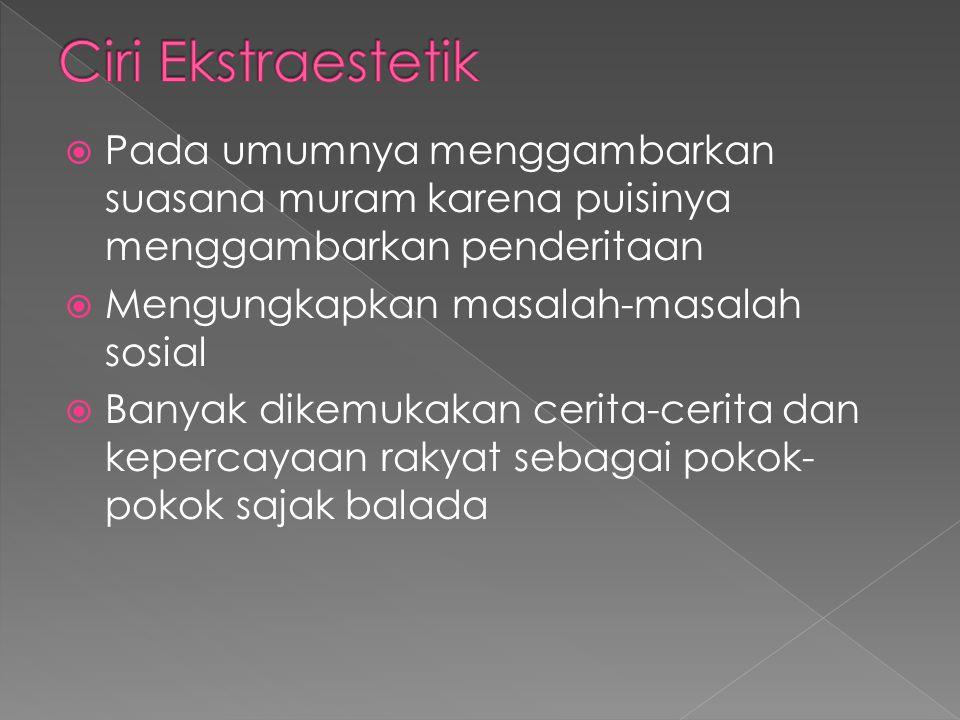 Ciri Ekstraestetik Pada umumnya menggambarkan suasana muram karena puisinya menggambarkan penderitaan.