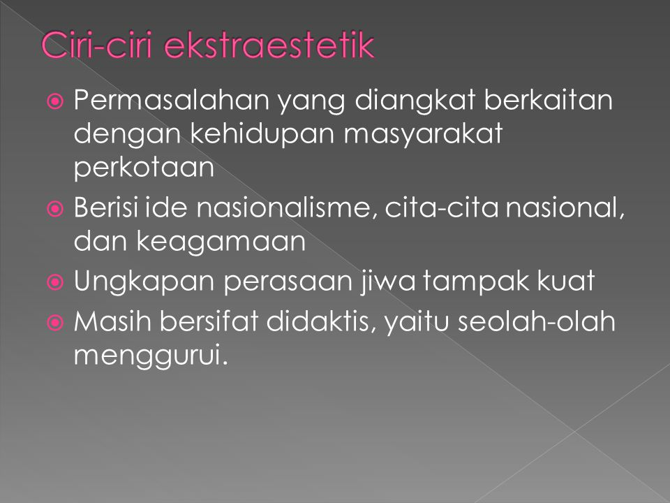 Ciri-ciri ekstraestetik