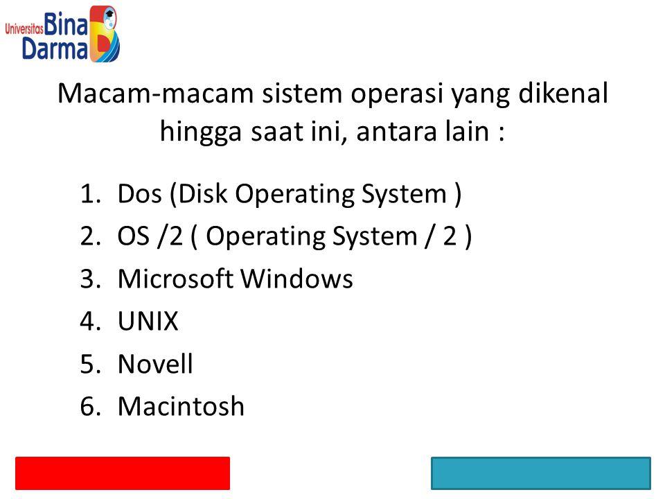 Macam-macam sistem operasi yang dikenal hingga saat ini, antara lain :