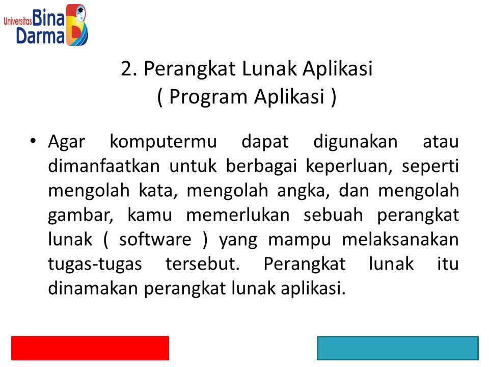 2. Perangkat Lunak Aplikasi ( Program Aplikasi )