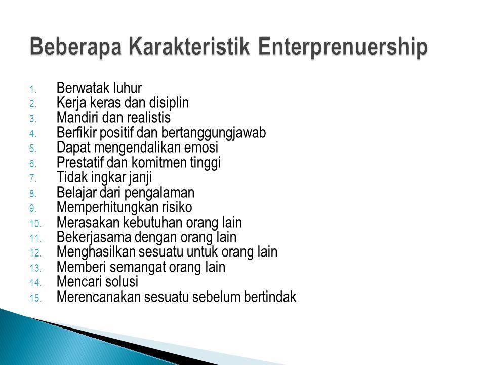 Beberapa Karakteristik Enterprenuership
