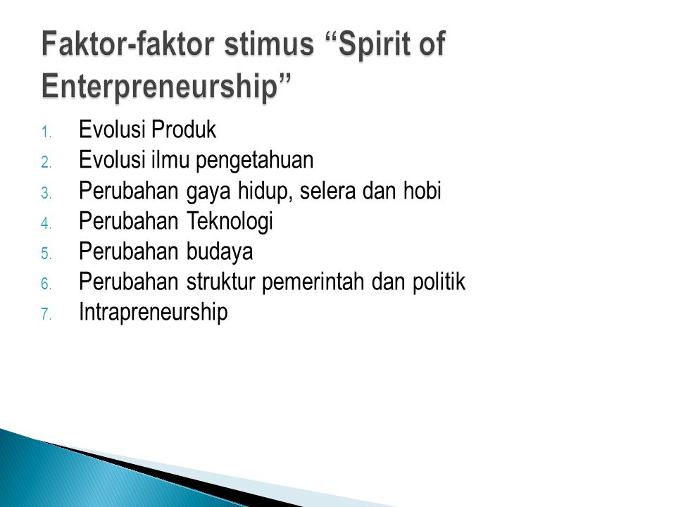 Faktor-faktor stimus Spirit of Enterpreneurship
