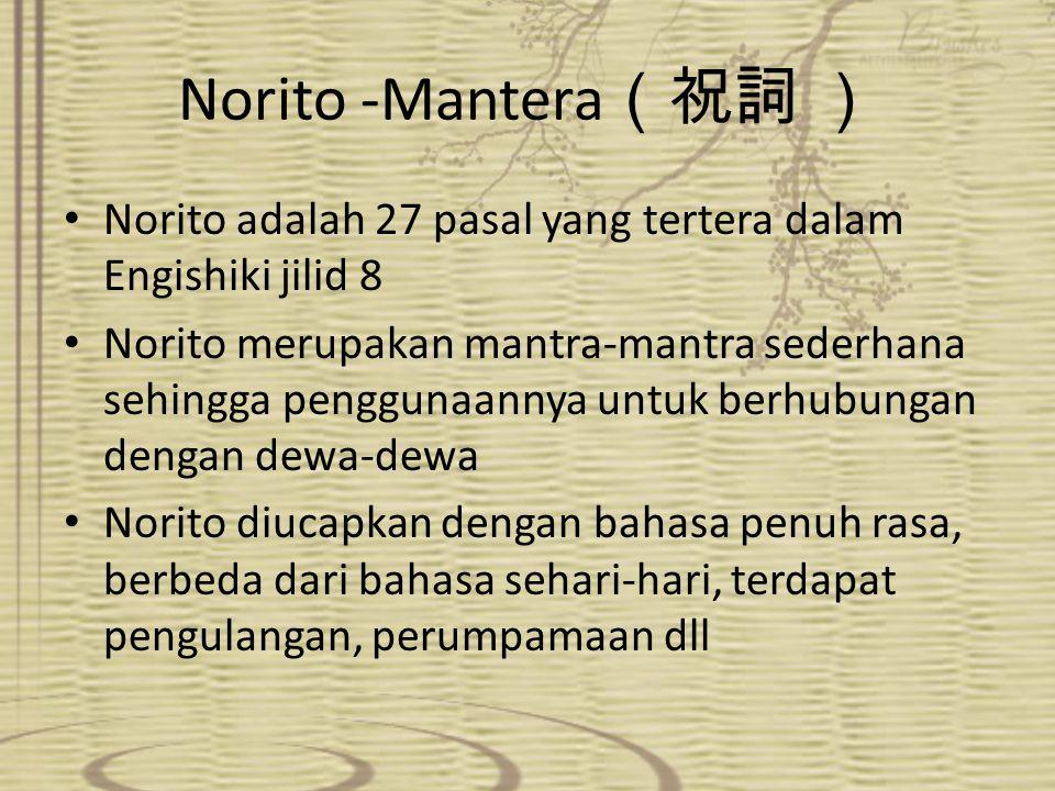 Norito -Mantera(祝詞 ) Norito adalah 27 pasal yang tertera dalam Engishiki jilid 8.