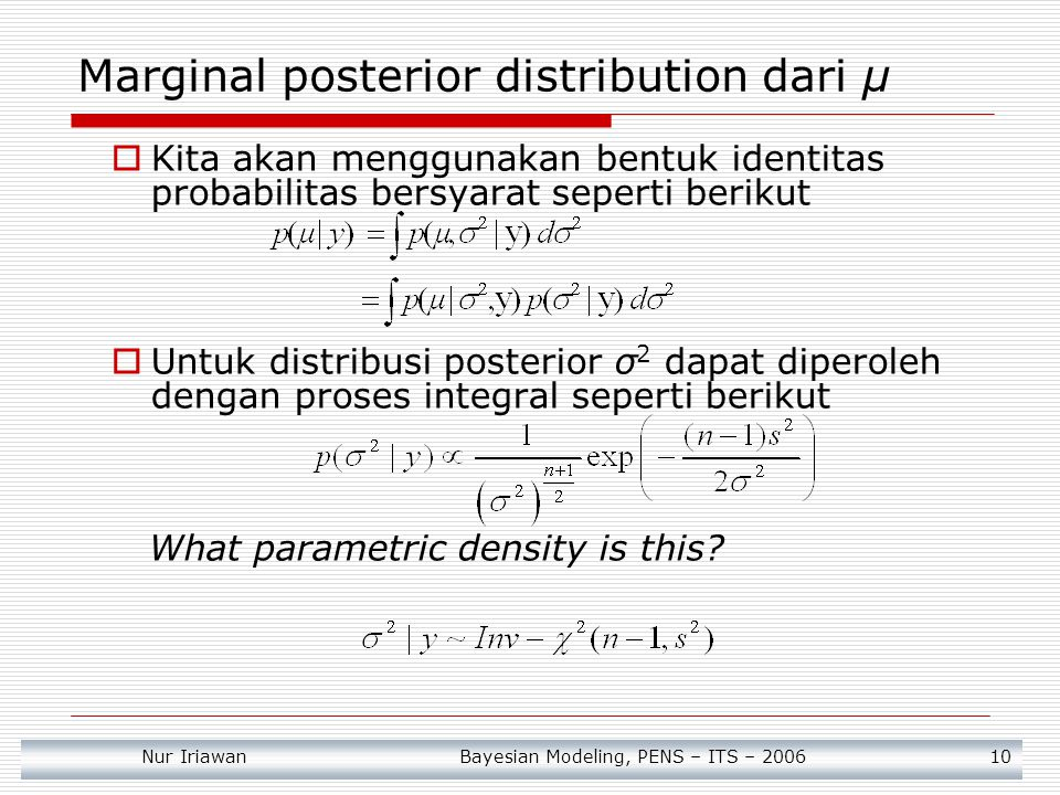 Marginal posterior distribution dari μ