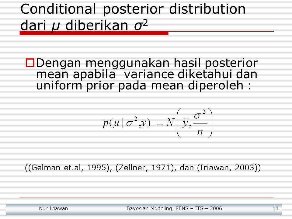 Conditional posterior distribution dari μ diberikan σ2