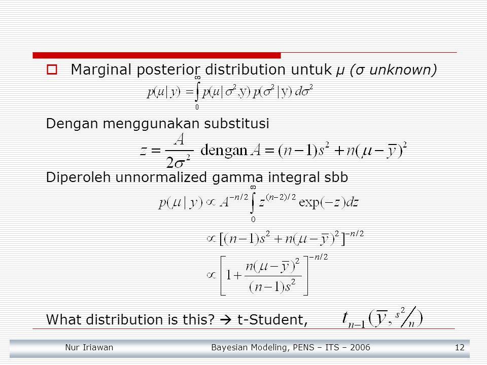 Marginal posterior distribution untuk μ (σ unknown)