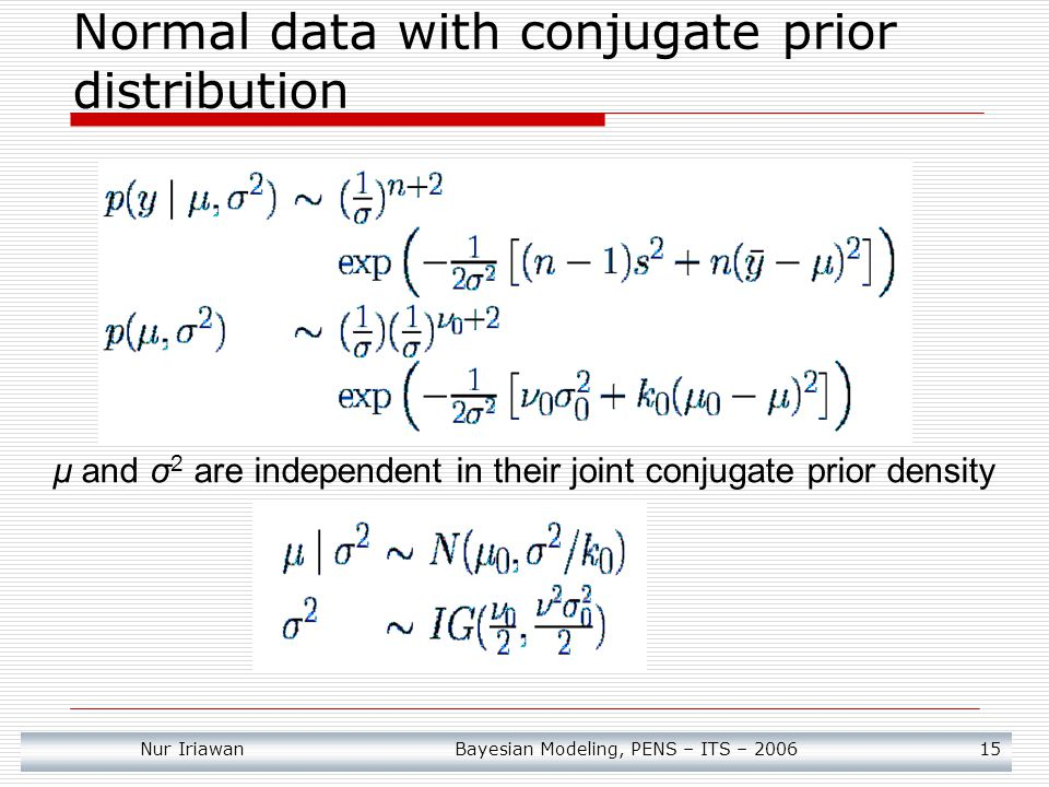 Normal data with conjugate prior distribution
