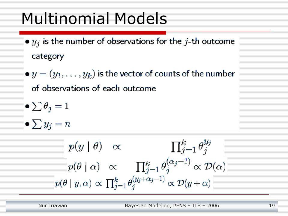 Multinomial Models Nur Iriawan Bayesian Modeling, PENS – ITS – 2006 19