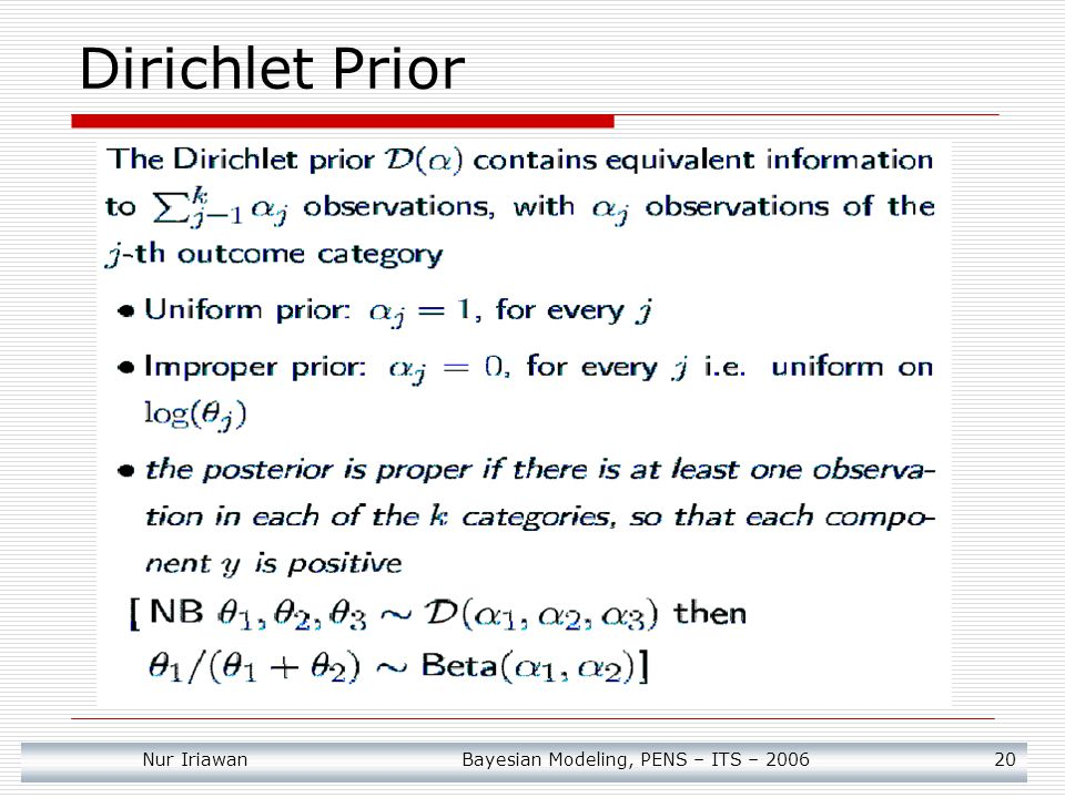 Dirichlet Prior Nur Iriawan Bayesian Modeling, PENS – ITS – 2006 20
