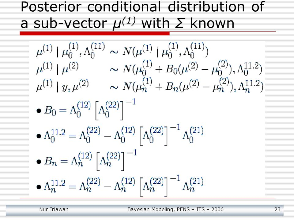 Posterior conditional distribution of a sub-vector μ(1) with Σ known