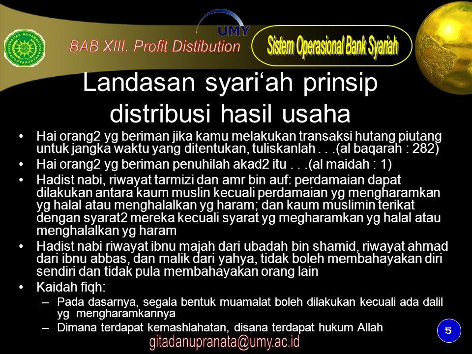 Landasan syari'ah prinsip distribusi hasil usaha