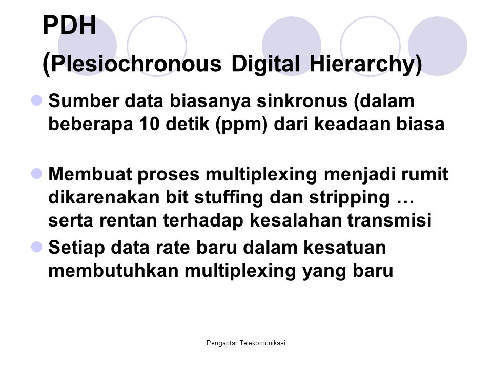 PDH (Plesiochronous Digital Hierarchy)