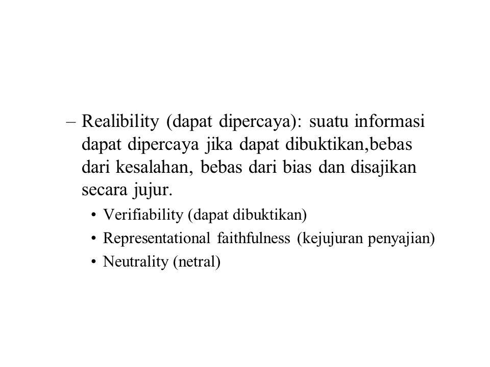 Realibility (dapat dipercaya): suatu informasi dapat dipercaya jika dapat dibuktikan,bebas dari kesalahan, bebas dari bias dan disajikan secara jujur.