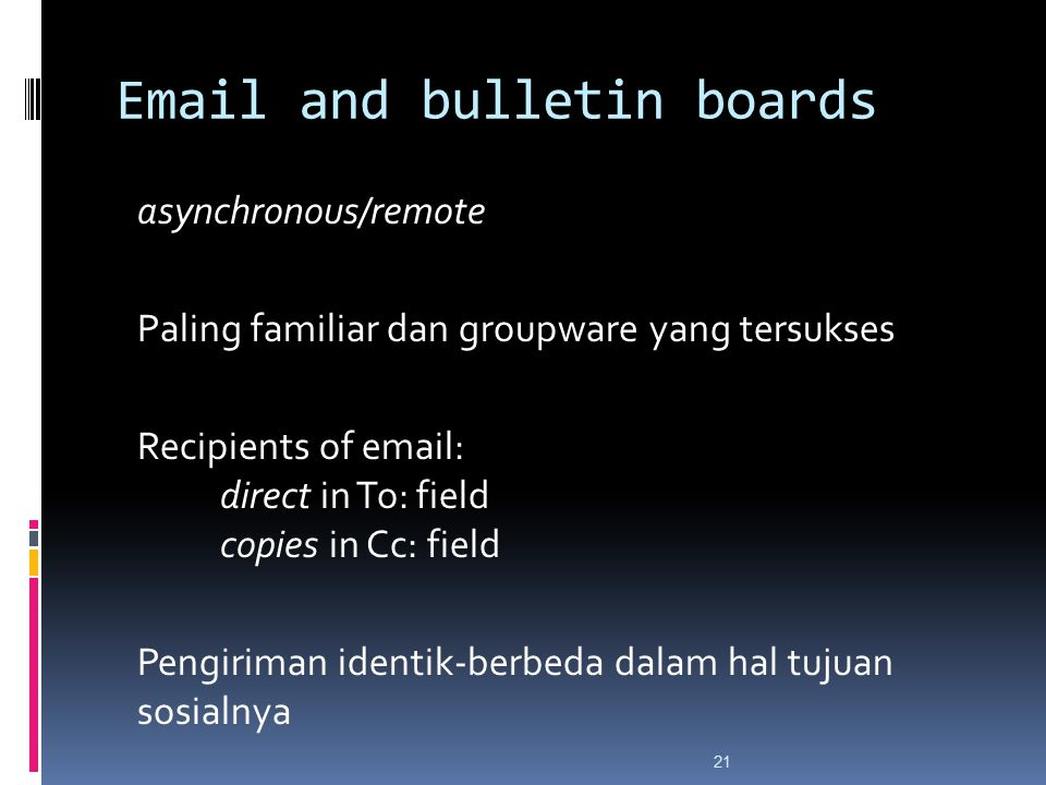 Email and bulletin boards