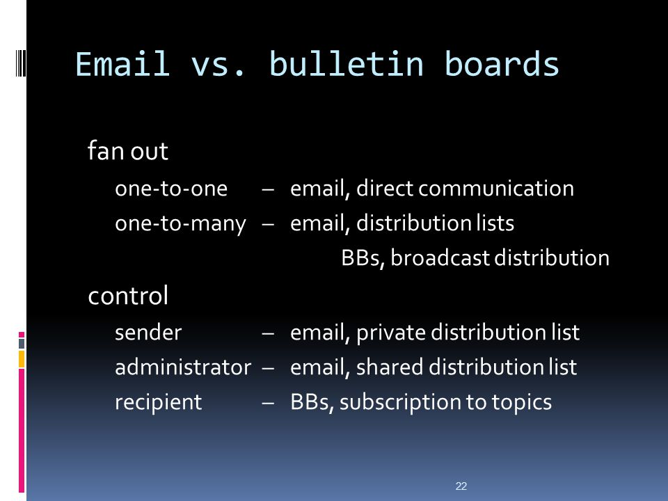 Email vs. bulletin boards