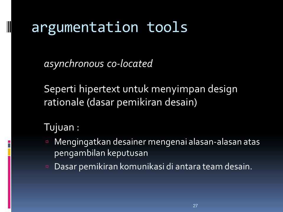 argumentation tools asynchronous co-located