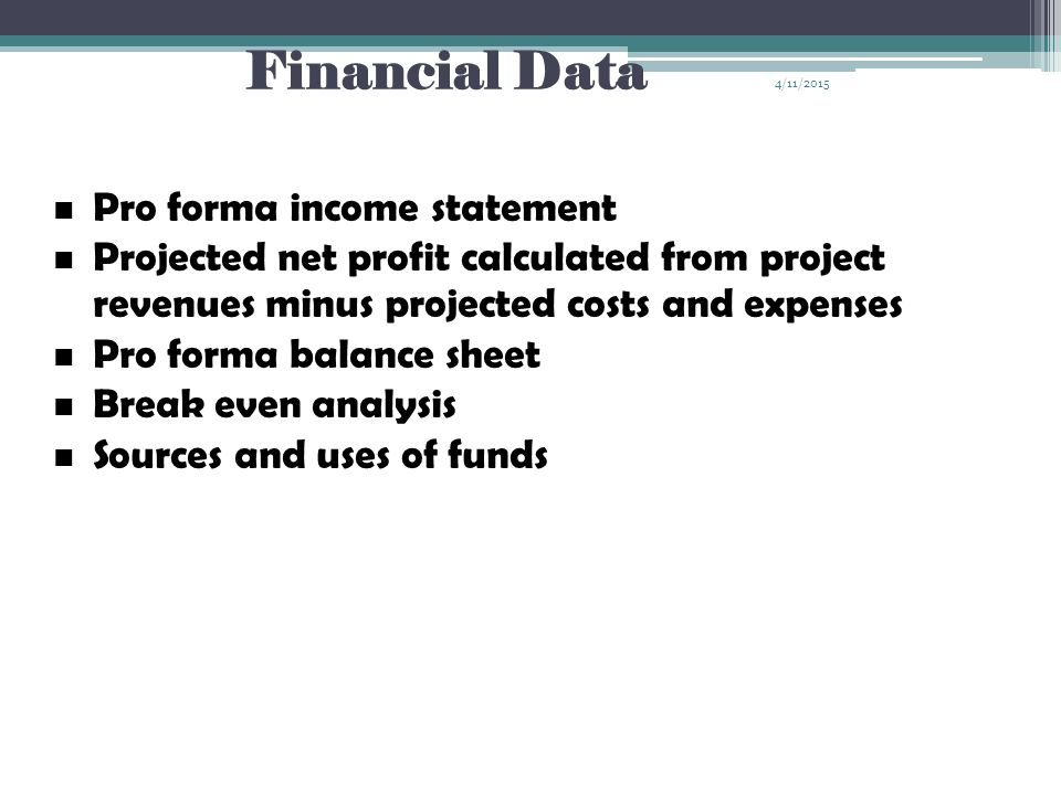Financial Data Pro forma income statement