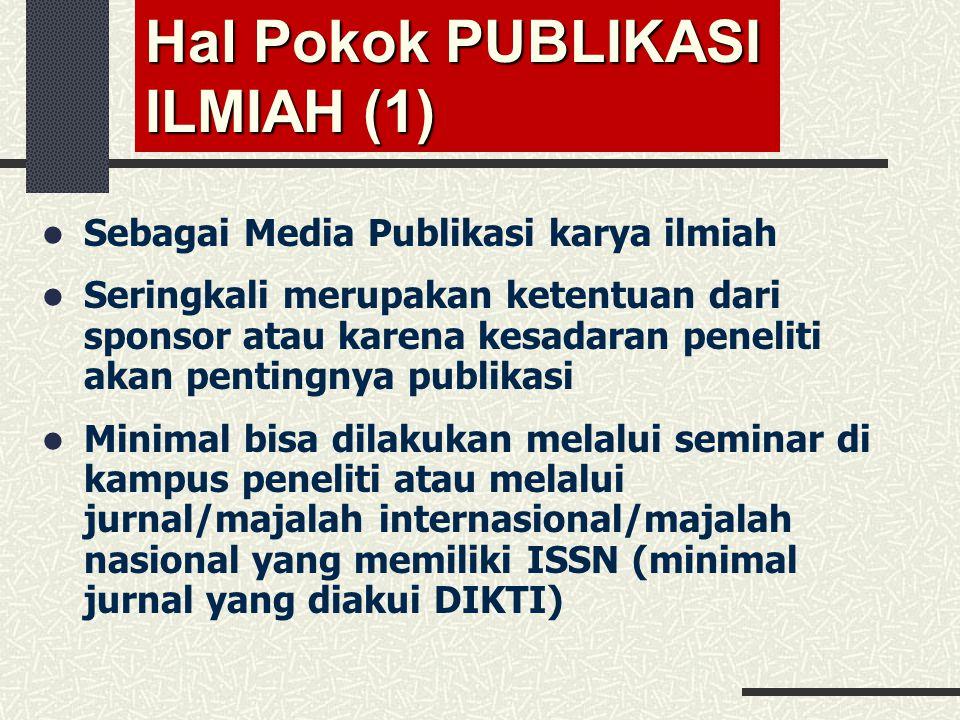 Hal Pokok PUBLIKASI ILMIAH (1)