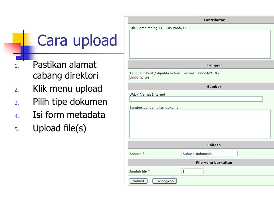 Cara upload Pastikan alamat cabang direktori Klik menu upload