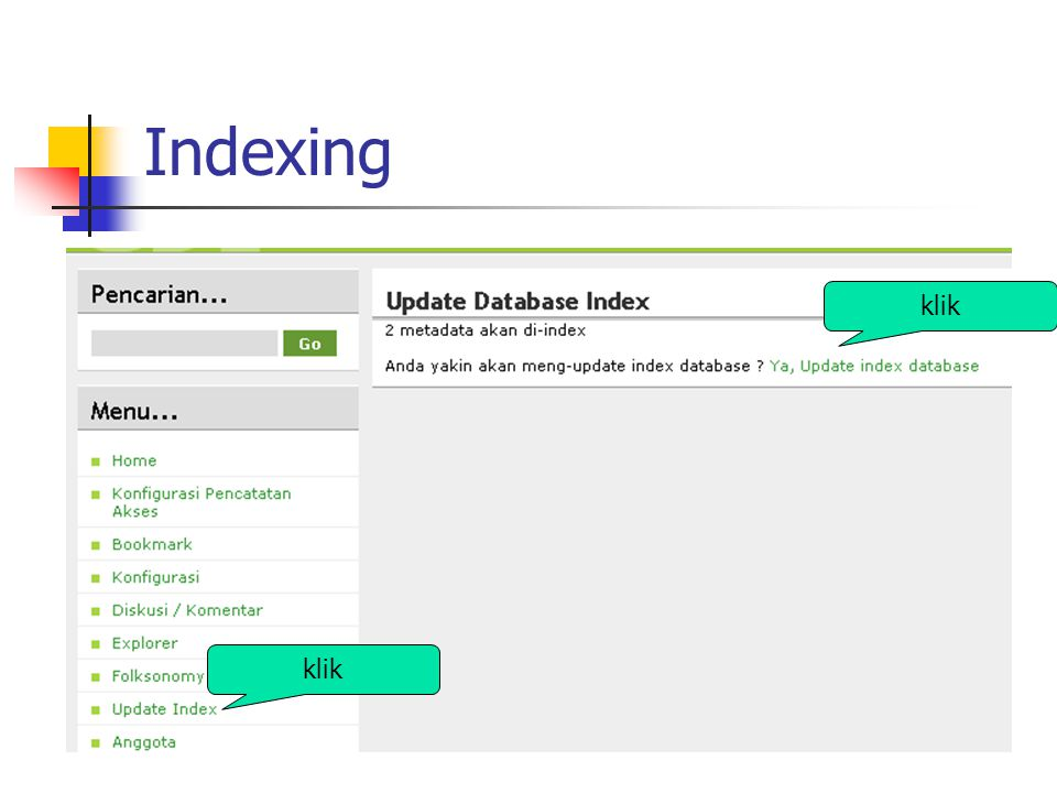 Indexing klik klik
