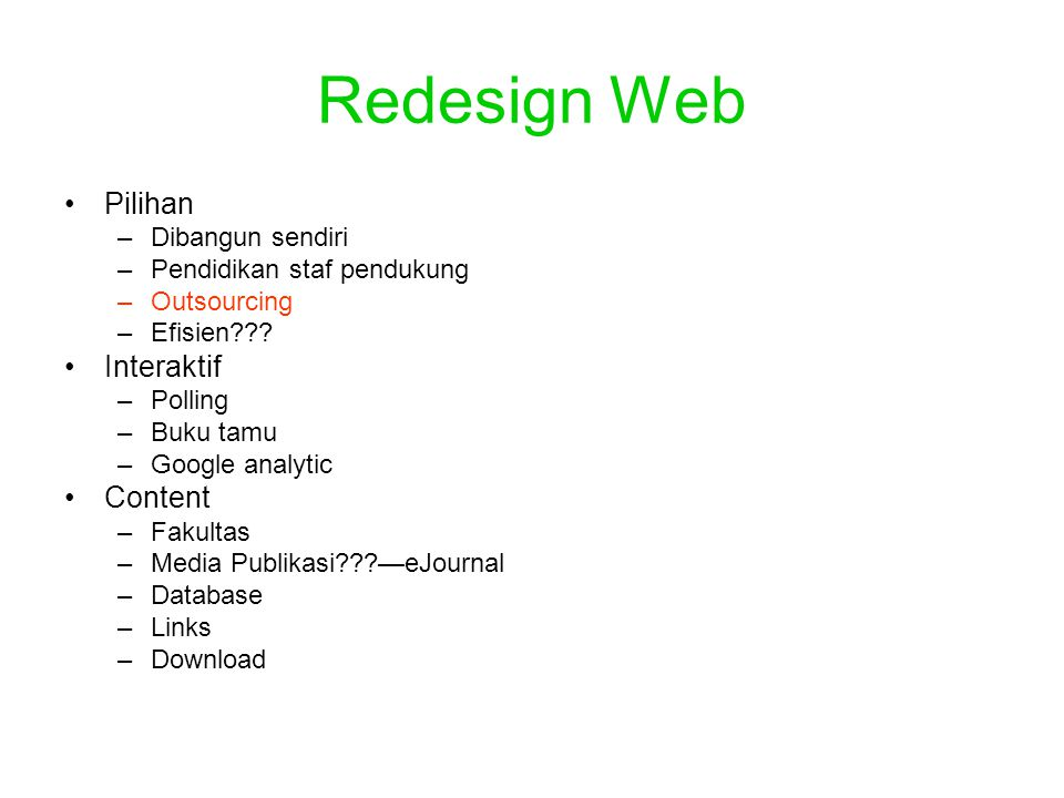 Redesign Web Pilihan Interaktif Content Dibangun sendiri
