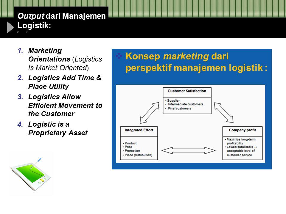 Output dari Manajemen Logistik: