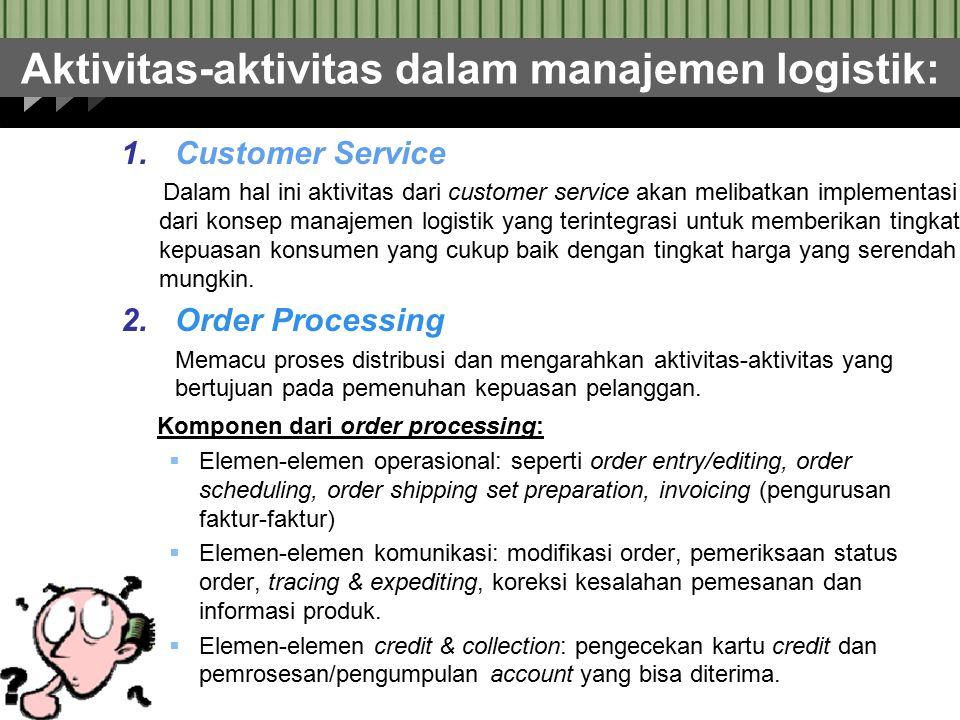 Aktivitas-aktivitas dalam manajemen logistik: