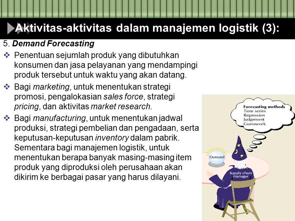 Aktivitas-aktivitas dalam manajemen logistik (3):
