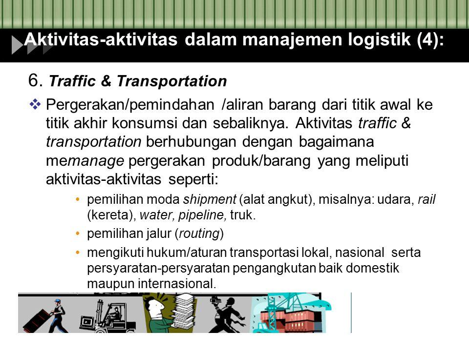 Aktivitas-aktivitas dalam manajemen logistik (4):