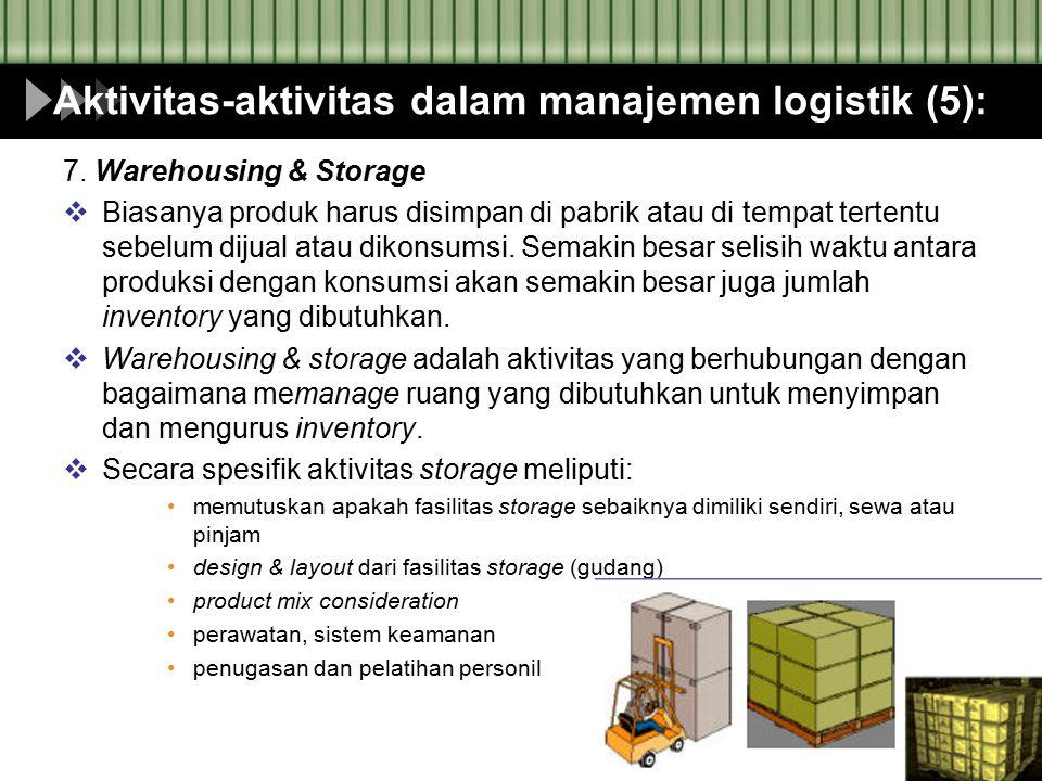 Aktivitas-aktivitas dalam manajemen logistik (5):