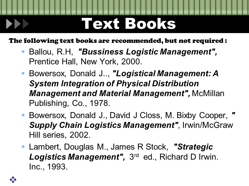 Text Books The following text books are recommended, but not required :